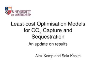Least-cost Optimisation Models for CO2 Capture and Sequestration