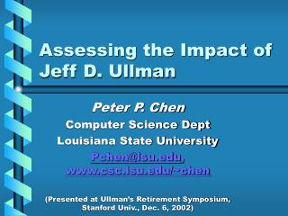 Assessing the Impact of Jeff D. Ullman
