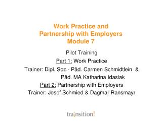 Work Practice and  Partnership with Employers Module 7