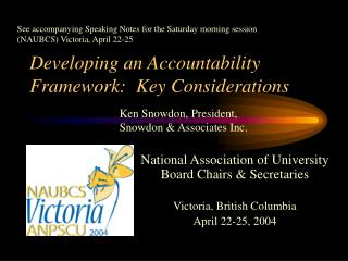 Developing an Accountability Framework:  Key Considerations