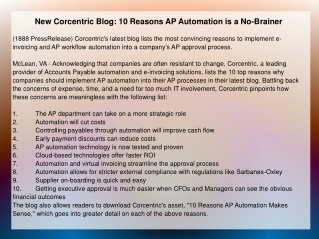 New Corcentric Blog: 10 Reasons AP Automation is a No-Braine