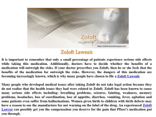 Zoloft Lawsuit