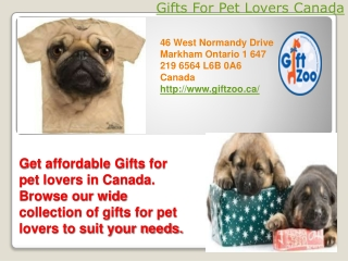 Gifts for pet lovers Canada
