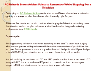 PCRichards Stores Advises Points to Remember While Shopping