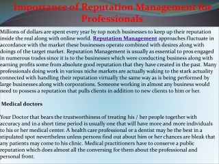 Importance of Reputation Management for Professionals