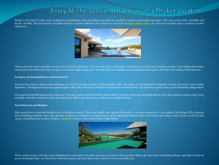 Enjoy All the Special Attractions of a Phuket Vacation