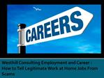 Westhill Consulting Employment and Career How to Tell Legiti