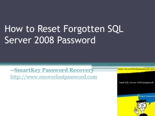 How to reset Forgotten SQL Server 2008 Password