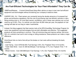 Are Fuel-Efficient Technologies for Your Fleet Affordable? T