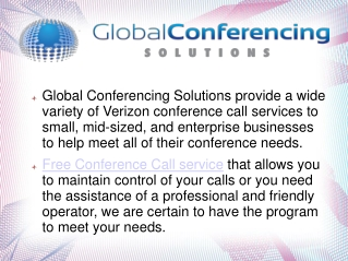 Global conferencing solution