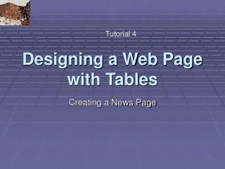 Designing a Web Page with Tables