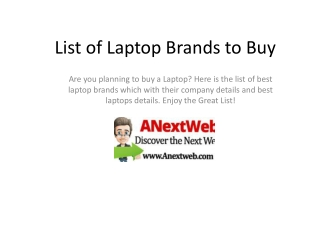 Suggestion of Laptop Brands- Details of Top 3 Laptop Brands