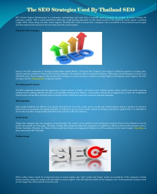 The SEO Strategies Used By Thailand SEO