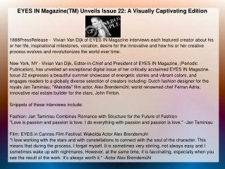EYES IN Magazine(TM) Unveils Issue 22: A Visually Captivatin