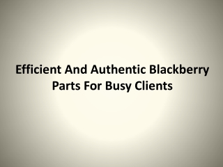 Efficient And Authentic Blackberry Parts For Busy Clients