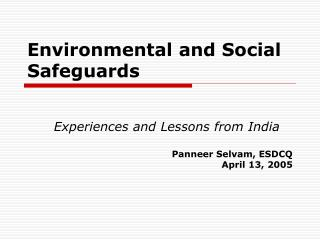 Environmental and Social Safeguards