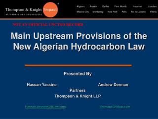 Main Upstream Provisions of the New Algerian Hydrocarbon Law