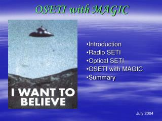 OSETI with MAGIC