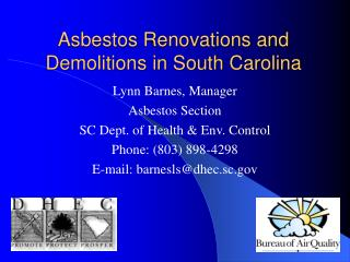 Asbestos Renovations and Demolitions in South Carolina