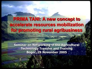 PRIMA TANI: A new concept to accelerate resources mobilization for ...