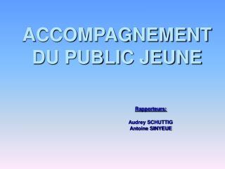 ACCOMPAGNEMENT DU PUBLIC JEUNE      Rapporteurs:     Audrey SCHUTTIG    Antoine SINYEUE
