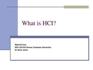 What is HCI