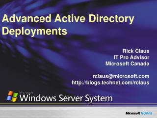 Advanced Active Directory Deployments