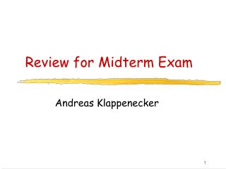 Review for Midterm Exam
