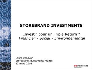 STOREBRAND INVESTMENTS