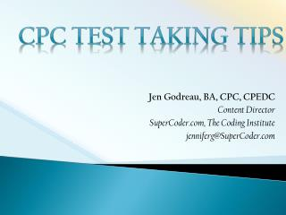 CPC Test Taking Tips