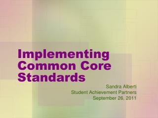 Implementing Common Core Standards