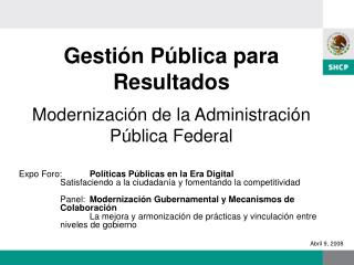 Gesti n P blica para Resultados  Modernizaci n de la Administraci n P blica Federal