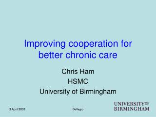 Improving cooperation for better chronic care