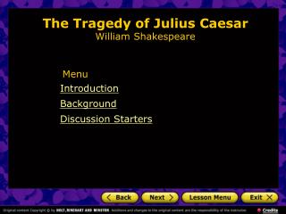 The Tragedy of Julius Caesar  William Shakespeare