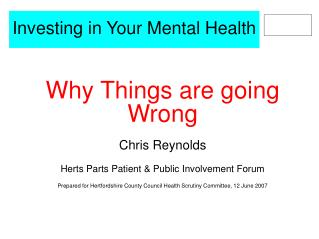 Investing in Your Mental Health