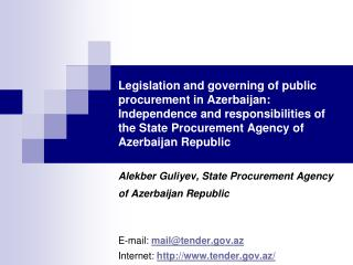Legislation and governing of public procurement in Azerbaijan: Independence and responsibilities of the State Procuremen