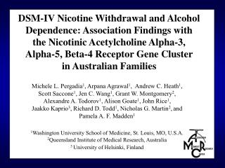 DSM-IV Nicotine Withdrawal and Alcohol Dependence: Association Findings with the Nicotinic Acetylcholine Alpha-3,  Alpha