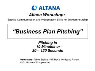 Business Plan Pitching