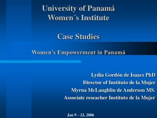 University of Panam  Women s Institute  Case Studies  Women s Empowerment in Panam