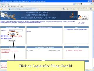 Click on Login after filling User Id