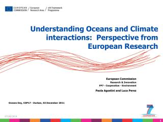 Understanding Oceans and Climate interactions:  Perspective from European Research