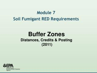 Buffer Zones Distances, Credits  Posting  2011