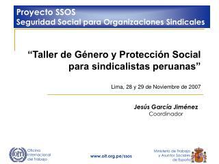 Taller de G nero y Protecci n Social   para sindicalistas peruanas    Lima, 28 y 29 de Noviembre de 2007