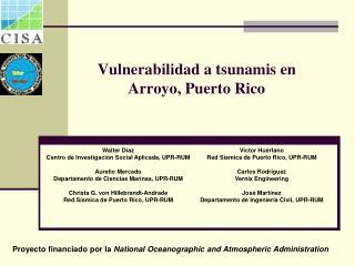 Vulnerabilidad a tsunamis en  Arroyo, Puerto Rico