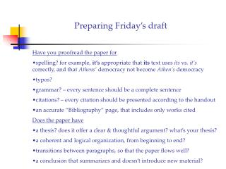Preparing Friday s draft