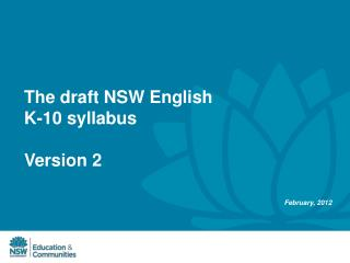 The draft NSW English K-10 syllabus  Version 2