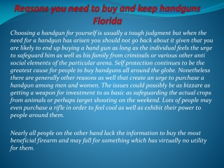 Reasons you need to buy and keep handguns Florida