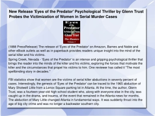 New Release 'Eyes of the Predator' Psychological Thriller by