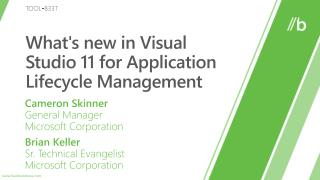 Whats new in Visual Studio 11 for Application Lifecycle Management