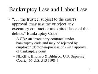 Bankruptcy Law and Labor Law